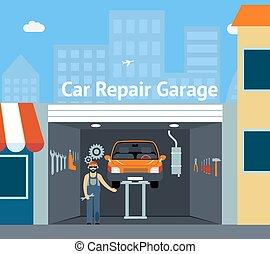 Cartooned Car Repair Garage with Signage Graphic Design with Repairman, Car and Set of Tools