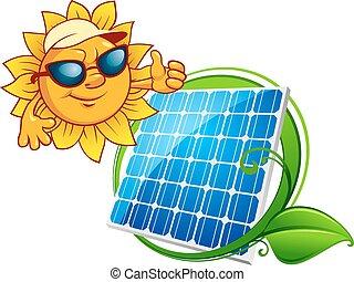 Cartooned cheerful sun with blue solar panel