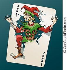 cartooned, joker, skokowy, grając kartę, poza