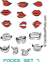 cartooned, labbra, set, bocca