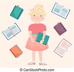 Cartooned School Girl