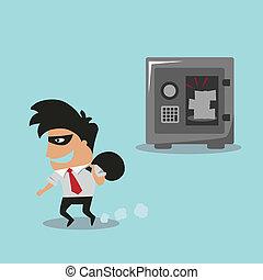 Cartooned thief in black mask and costume running away
