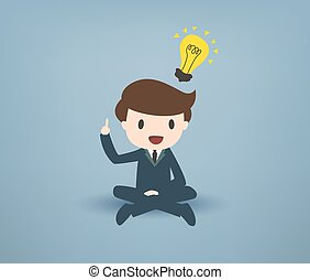 Cartooned Young Businessman with Bulb Overhead