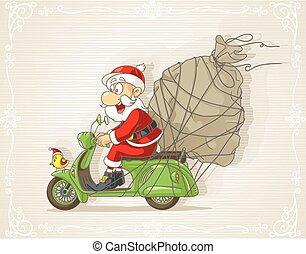 cartoon.eps, presente, scooter, claus, saco, vetorial, santa