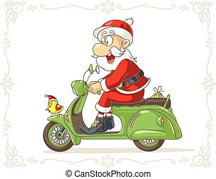 cartoon.eps, presente, scooter, claus, vetorial, santa, pequeno
