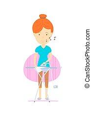 cartooning, femme, mère, coloré, femme, illustration, heureux, routine, mignon, femme foyer, style, vecteur, fredonner, repassage, quotidiennement, devant