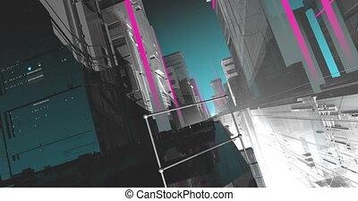 Cartoonish cyberpunk city