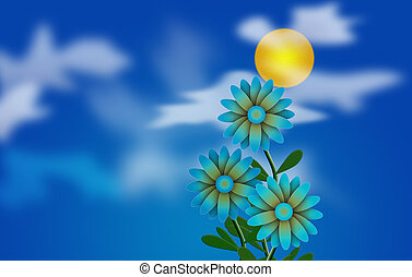 Daisies - Cartoonish illustration. Daisies and Sun in cloudy...