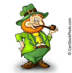 CartoonishLeprechaun with a smoking pipe. A lucky leprechaun...
