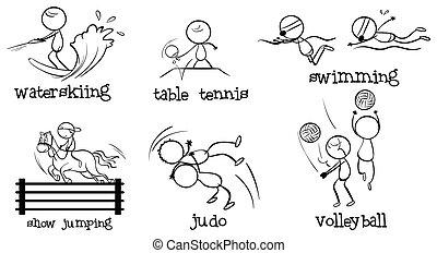 cartoonized, hommes, engageant, dans, différent, sports