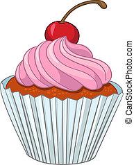 Cartoons Cupcake - Cartoon Food Sweet Cupcake Isolated on...