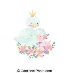 Cartoons goose and gosling sit on a flower arrangement....
