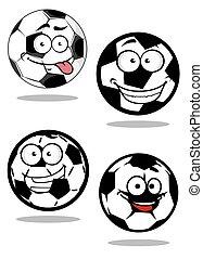 Cartoontd football or soccer balls mascots