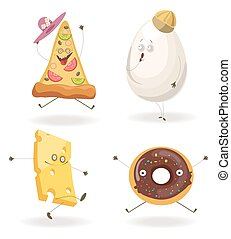 Cartooon fast food characters with cheerful human face...