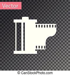 cartouche, arrière-plan., bobine, vendange, blanc, equipment., isolé, illustration, rouleau, filmstrip, 35mm, vecteur, canister., photographe, icon., appareil photo, transparent, pellicule, icône
