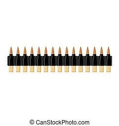 cartouche, balle, holder., isolated., bandolier, arrière-plan., bande, agrafe, militaire, belt., munitions, blanc