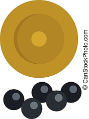 Cartridge balls icon, flat style