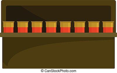 Cartridge box icon, flat style