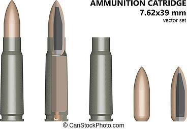 cartridge, bullet, cartridge, Kalashnikov, set, 7.62