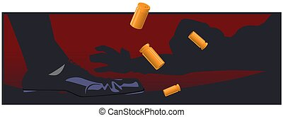 Cartridge cases fall near shooter shoes. Funny people. Stock...
