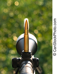 Cartridge on rifle scope. Close up view.