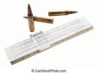 Cartridges and slide rule