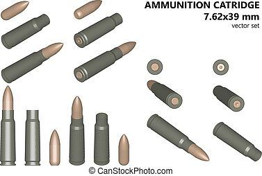 Cartridges for automatic rifle. The bullet and shell....