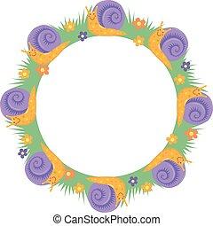 cartton, 邊框, 輪, 蝸牛, 框架