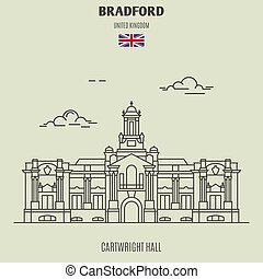 Cartwright Hall in Bradford, UK. Landmark icon in linear style