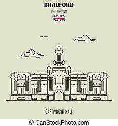 cartwright, uk., ランドマーク, bradford, ホール, アイコン