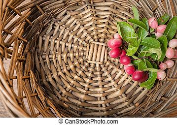 Carunda, Karonda fruite in rattan tray.