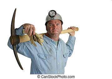 carvão, 2, mineiro, pickax