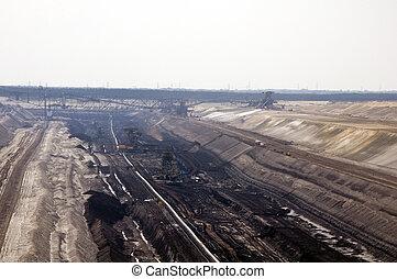 carvão, cova, abertos, mina, jaenschwalde