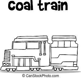 carvão, desenhar, trem, transporte, mão