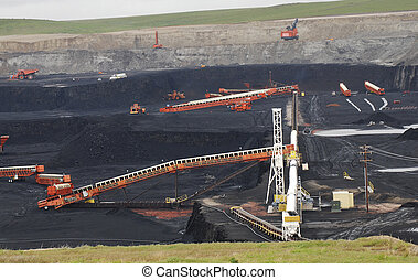 carvão, escavação, em, wyoming