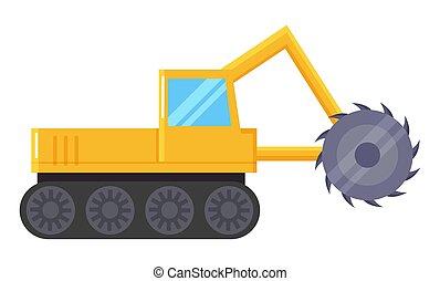 carvão, escavador, indústria, mineração, máquina, amarela