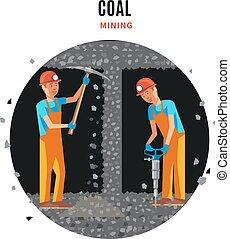 carvão, extração, modelo, apartamento