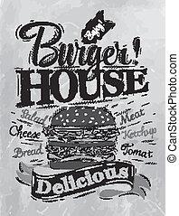 carvão, hambúrguer, casa, cartaz