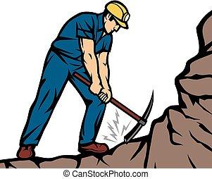 carvão, pico, mineiro, confiante, machado