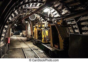 carvão, transporte, trem, em, mina carvão