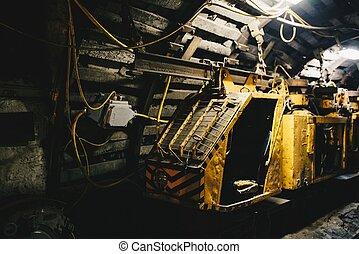 carvão, transporte, trem, em, subterrâneo, mina carvão