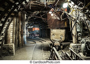 carvão, vagões, ligado, um, trilhas