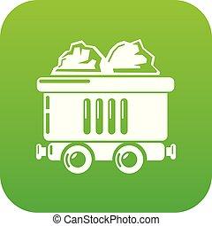 carvão, vetorial, carro verde, ícone