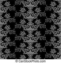 carvão, vitoriano, floral, papel parede