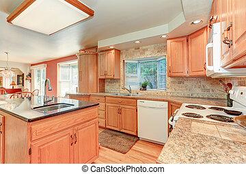 carvalho, cabinetry, luminoso, madeira, interior, cozinha