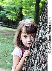 carvalho, inclinar-se, árvore, contra, criança