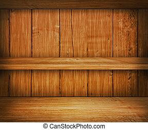 carvalho, madeira, prateleira, fundo