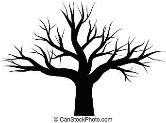 carvalho, vetorial, árvore, leafless, ícone