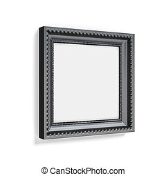 Carved black picture frame on white background. 3d rendering