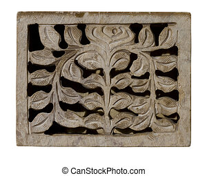 Carved decorative pale stone panel isolated with clipping...
